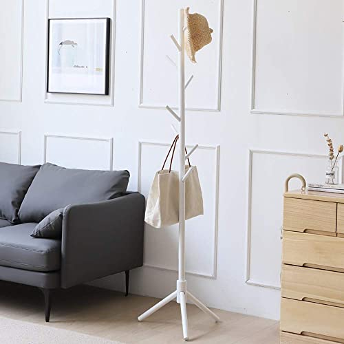 OCGAU Sturdy Coat Rack Freestanding,Heavy Duty Coat Hanger Stand Tree with 8 Hooks, Wooden Hall Tree Coat Rack Easy to Assemble -White