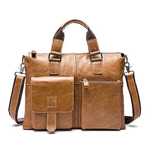 Price comparison product image Crossbody Retro Large Handbag Shoulder Bag 14 inch Computer Laptop Bag (Color : Yellow)