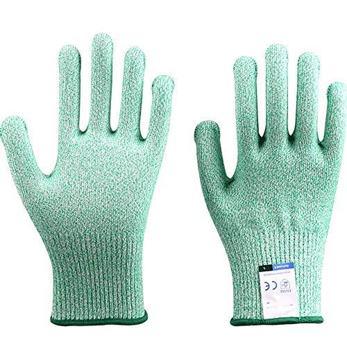 アンチカット手袋のカット耐性の手袋、超耐久性のあるシリーズ - 高性能レベル5の保護、食品グレード (Color : Green, Size : XXL)