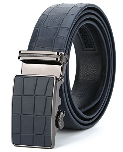 ITIEZY Men's Vintage Business Automatic Buckle Leather Belt with Crocodile Pattern