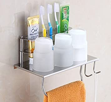 Bath rack porta cepillo de dientes de acero inoxidable wc cepillo multifuncional portavasos rack de almacenamiento de montaje en pared porta cepillo de ...