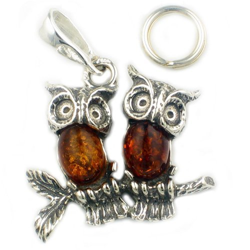 Welded Bliss Sterling 925 Silver Twin Owls Pendant Charm, Amber Set With Free 16