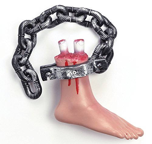 Retail Zone Bloody Foot On Chain Saw Style Severed Limb Halloween Party Prop