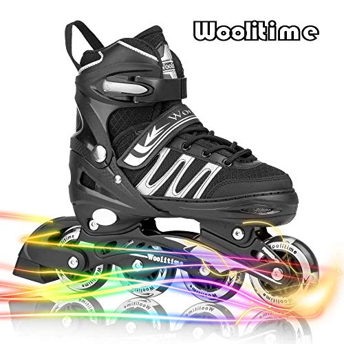 (Woolitime Sports Adjustable Inline Skates for Kids with 8 Illuminating Wheels, Safe and Durable Rollerblades, Fashionable Roller Blades for Girls and Boys, Men and Ladies)