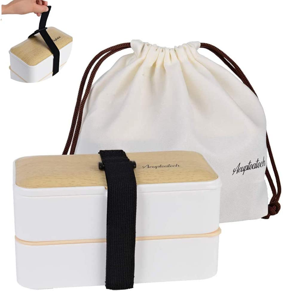 Lunch Bento Box with Upgraded Adjustable Strap, Stackable Reusable Leakproof food Container, BPA FREE, Fashion 2 Tiers Japanese Style, Suitable for Office School Camp Picnics, 1200ml, Bamboo White