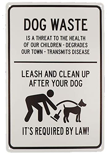 TISOSO Dog Waste Leash and Clean Up After Your Dog Tin Signs Outdoor Park Yard Signs Vintage Iron Painting House Cafe Sign Industrial Warning Signs Metal Gift Size 8 X 12 ()