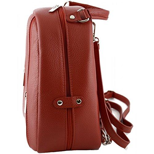 Zaino Donna In Vera Pelle Colore Rosso - Pelletteria Toscana Made In Italy - Zaino