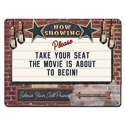 Now Showing Please Take Your Seat, 9 x 12 Inch Metal Sign, Vintage Home Theater Decor, Wall Marquee for Movie, Media, Cinema Room and Gifts for Movie Lovers, Actor, Actress, Screenwriter, RK3078 9x12
