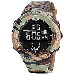 Men's Sport watch, Multi-function Digital stopwatch 50m waterproof Digital Calendar Alarm clock Night light Student Adult-E