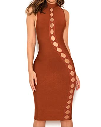 Whoinshop Womens High Neck Below Knee Bandage Pencil Party Prom Dress - Brown -