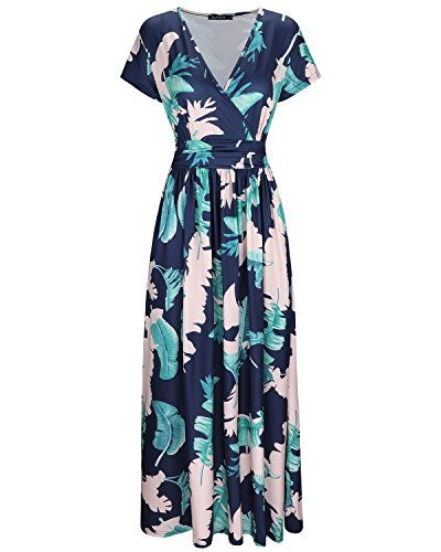 OUGES Women's V-Neck Pattern Pocket Maxi Long Dress(Floral-8,M)