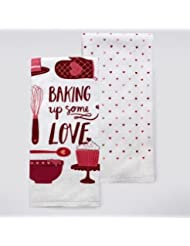 "Celebrate Valentine's Day Together ""Baking Up Some Love"" Kitchen Towel 2 pk"