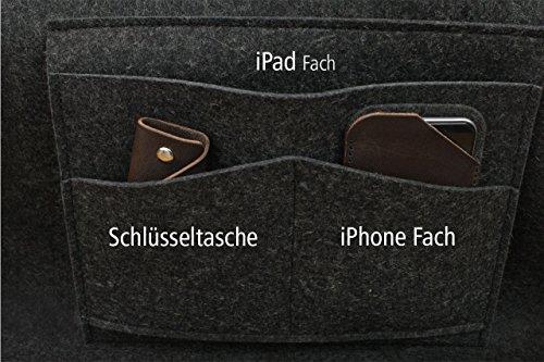 Pack & Smooch Tote Bag Shopper York 100% Anthrazit/Dunkelbraun Merino Wollfilz Pflanzlich Gegerbtes Leder Handmade in Germany Anthrazit ANDw06