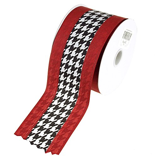 Black/Red Houndstooth Crimson Polyester Ribbon, 10 Yards, 2-1/2-inch (Party Supplies Houndstooth)