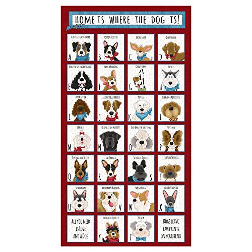 Henry Glass & Co. Henry Glass Home 24'' Dog Breed Alphabet Panel Red, Fabric by the -