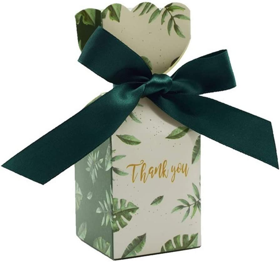 FSYX Bolsa de regalo Suministros de boda Caja de regalo Papel Caja de dulces Fiesta de cumpleaños Decoración de regalo para bebés 5x5x12.5cm Verde