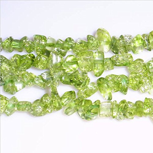 TheTasteJewelry 3 Strands Natural Peridot A Grade Chips 5-8mm 34'' Jewelry Making Necklace Bracelet