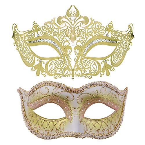 Couples Venetian Masquerade Mask Mardi Gras Masks Set Party Masquerade Ball Costume Accessory (Crown)]()
