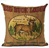 Retro Background Wildlife Big Bucks Lodge Cotton Linen Throw Pillowcase Personalized Cushion Cover NEW Home Office Decorative Square 18 X 18 Inches