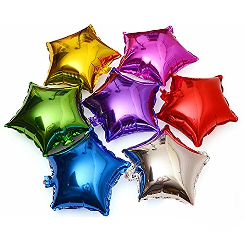 (TOYMYTOY 18 Inches Foil Balloon Five-Point Star Mylar Balloons for Party 10pcs (Silver))
