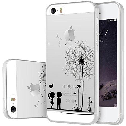 Coque pour iPhone SE / 5 / 5S, Leathlux Romantique Transparent Souple TPU Étui Protection Bumper Housse Clair Doux Silicone Gel Ultra Mince Case Cover pour iPhone SE / 5 / 5S
