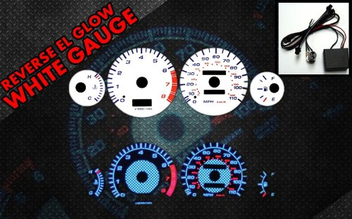 Brand New White Face Blue Indigo Reverse Glow Gauges For 93-97 Toyota Corolla (RCF-TO-93-97) (Glow Reverse White Gauge)