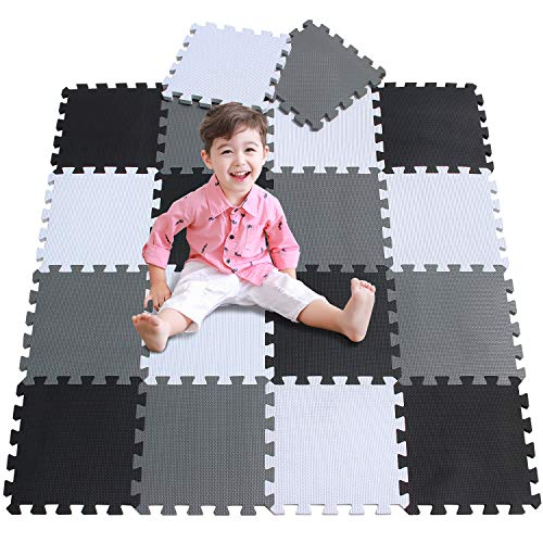 meiqicool Kid's Puzzle Exercise Play Mat with EVA Foam Interlocking Puzzle Solid Foam Play Mat for Baby- 18 Tiles Puzzle…