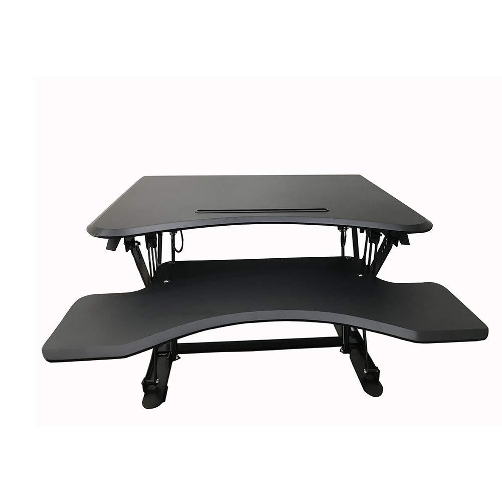 Hansemay - Escritorio de pie con Altura Ajustable, Soporte para Sentarse, convertidor de Escritorio, Mesa de Trabajo ergonómica, para Dos monitores, ...