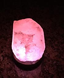 Amazon.com: HOCINA Natural Himalayan Rock Salt Mini Lamp Multi Color Change with Wood Base, USB ...