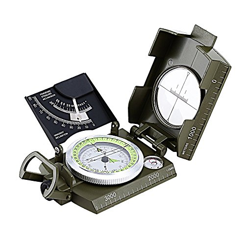 Flip Compass (USCAMEL Professional Mental Compass with Multifunction for Camping and Hiking Pocket Size Waterproof (Army Green, Dial # 50mm) (Army Green))