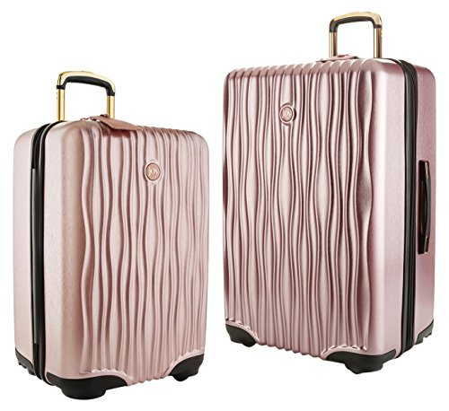 Joy Mangano Hardside Medium Luggage (Carry-on) and Xl Luggage Combo, Rose Quartz