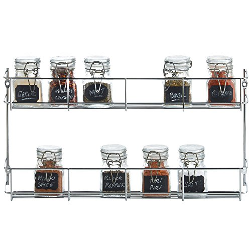 (VonShef 2 Tier Spice Rack Chrome Plated (Easy Fix) For Herbs and Spices Suitable for Wall Mount or Inside Cupboard)