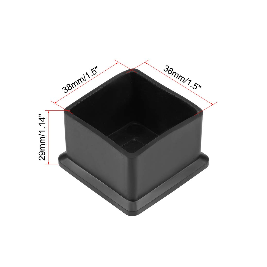 sourcing map Gomma tappi mobili 20mm x 20mm forma quadrato Tavolo gambe sedie coperchi 12pz
