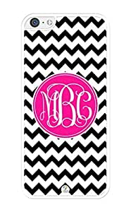 MMZ DIY PHONE CASEiZERCASE Monogram Personalized Black and White Chevron with Hot Pink Circle Pattern iphone 6 4.7 inch Case - Fits iphone 6 4.7 inch T-Mobile, AT&T, Sprint, Verizon and International (White)
