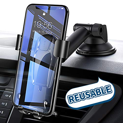 Cell Phone Holder for Car, Universal Dashboard Cell Phone Holder Gravity Auto-Clamping Car Cradle Mount Adjustable Car Holder Compatible iPhone X/ 8/7/ 6s/ Plus, Samsung Note 9/ S9/ S8/ S7/ S6 by Ainope