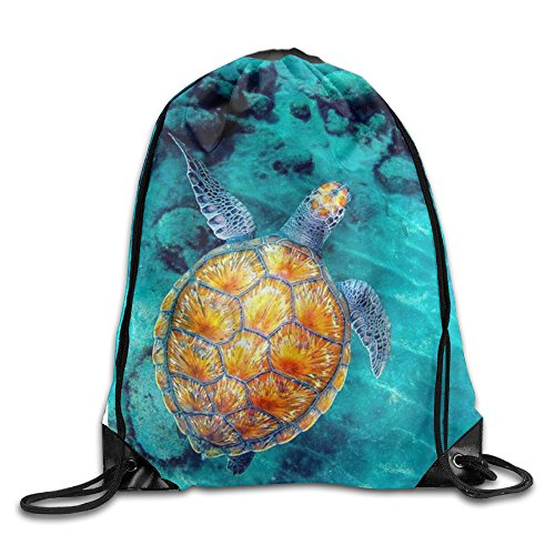 MCWO GRAY Cute Sea Turtle Drawstring Bag Backpack Draw Cord Bag Sackpack Shoulder Bags Gym Bag Large Lightweight Gym For Men And Women Hiking Swimming Yoga by MCWO GRAY