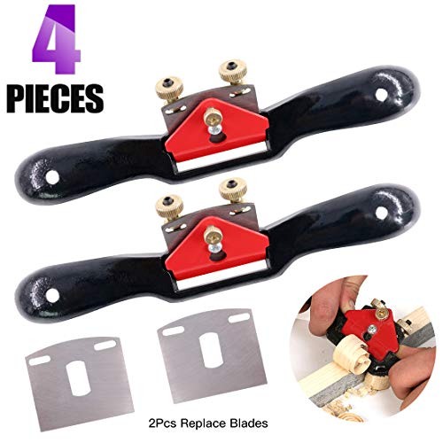 (Swpeet 2Pcs 10'' Adjustable SpokeShave with Flat Base and 2Pcs Replacement Blades, Metal Blade Wood Working Hand Tool Perfect for Wood Craft, Wood Craver, Wood Working)