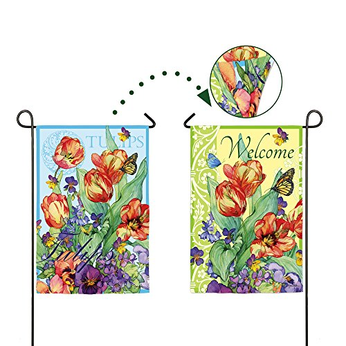 Evergreen Suede Welcome Tulips Spring Flowers Two Sided Garden Flag, 12.5 x 18 inches