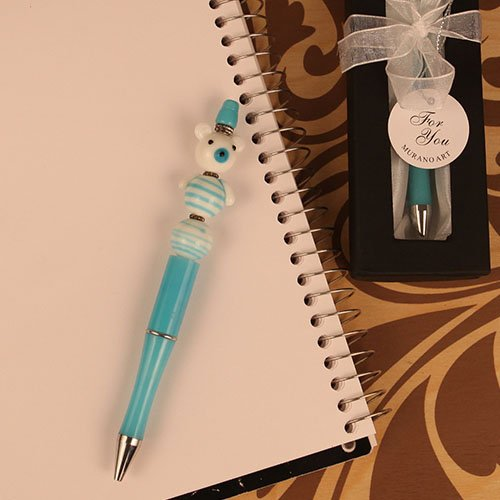Scribble Bears Blue Arte Murano Bear Shaped Glass Topped Pen - 24 count