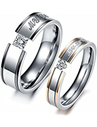 Him Her Couple Rings Stainless Steel Anniversary Engagement Promise Wedding Band My Love CZ
