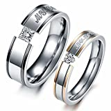 LAVUMO Him Her Couple Rings Stainless Steel Anniversary Engagement Promise Wedding Band My Love CZ (men 11 & women 6)