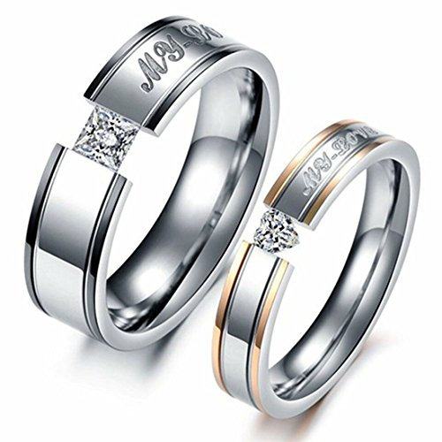 Pair Promise Rings - LAVUMO Him Her Couple Rings Stainless Steel Anniversary Engagement Promise Wedding Band My Love CZ (men 9 & women 7)