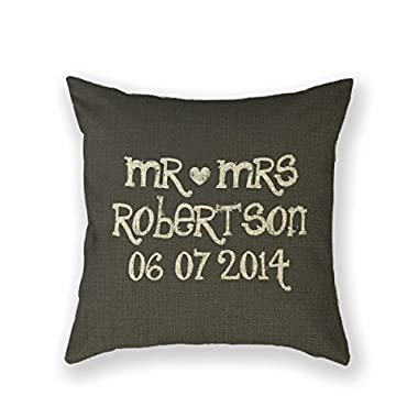 Customized Standard New Arrival Pillowcase Design Black Mr And Mrs Mrs Throw Pillow 20 X 20 Square Cotton Linen Pillowcase Cover Cushion