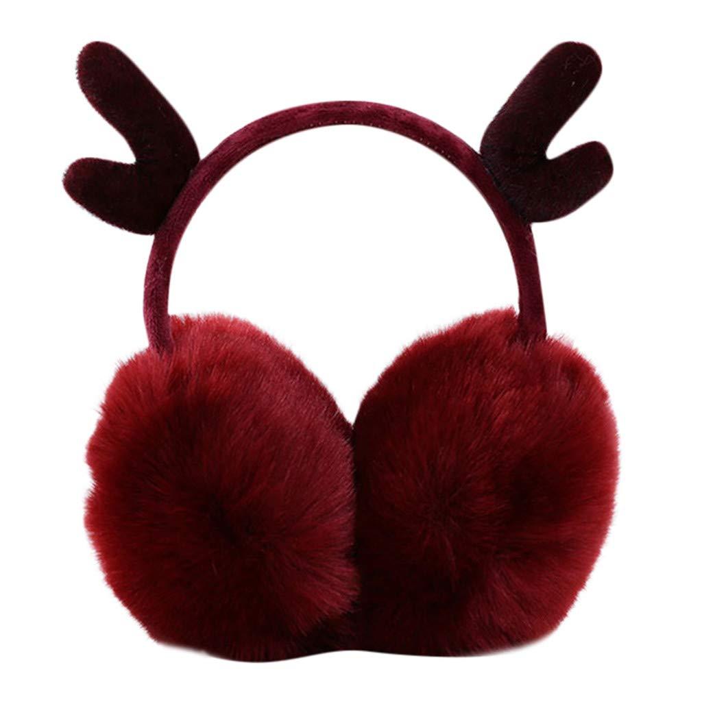 Unisex Orejeras de alce de navidad invierno plegables Ajustable de conejo de felpa C/álido para el frio Calentador de orejas de o/ído al aire libre Gusspower
