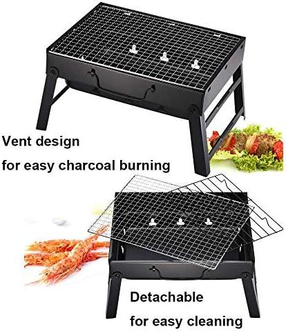 Portable Barbecue à Charbon de Bois en Acier Inoxydable Barbecue Pliable Bureau Parfait pour Le Camping Home Festival Garden Picnic Party (pour 3-5 Personnes)