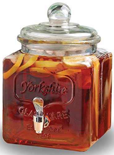 - Circleware 67112 Yorkshire Sun Mason Jar Square Beverage Dispenser with Glass Lid-Handle Home & Kitchen Glassware Pitcher for Water, Juice, Beer, Punch, Iced Tea, Cold Drinks, 1.4 Gallon, Clear