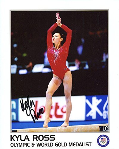 (KYLA ROSS HAND SIGNED 8x10 COLOR PHOTO+COA OLYMPIC GOLD MEDAL GYMNAST - Autographed Olympic Photos)