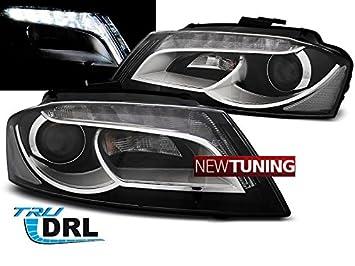 Faros delantero para Audi A3 8P 08 – 12 negro TRU DRL: Amazon.es: Coche y moto