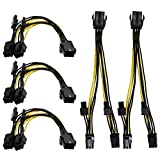 AIKE PCI Express 6 pin to 2 x PCIe 8 (6+2) Graphics Card PCI-e Express VGA Splitter Power Extension Cable 5 Pack