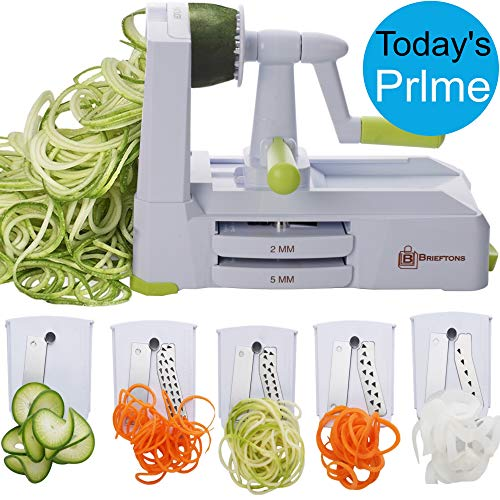(Brieftons 5-Blade Spiralizer (BR-5B-02): Strongest-and-Heaviest Duty Vegetable Spiral Slicer, Best Veggie Pasta Spaghetti Maker for Low Carb/Paleo/Gluten-Free, With Extra Blade Caddy & 4 Recipe Ebooks)